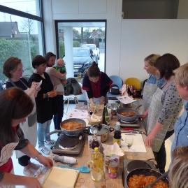 Foto van tafel klaar voor Thaise kookworkshop