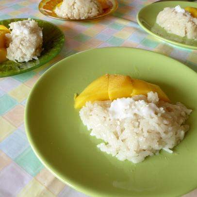 Plakrijst met kokos en mango