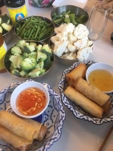 Thaie loempia's en ingrediënten van de workshop